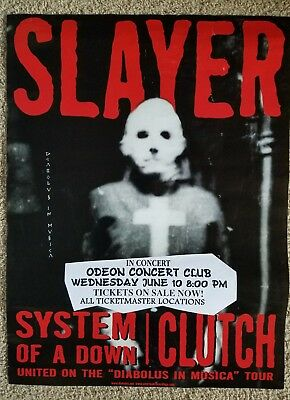 "SLAYER w/ SYSTEM OF A DOWN AND CLUTCH 18""X24"" RARE TOUR POSTER"