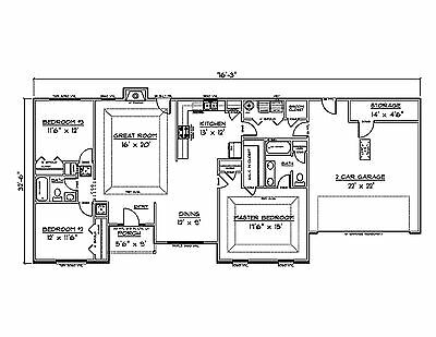 House Plans for 1660 Sq. Ft. 3 Bedroom House