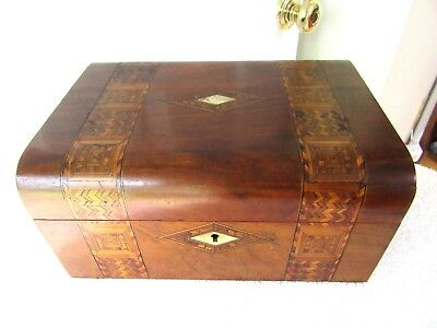Antique 1880 English Tunbridge Wood Box Inlaid Parquetry Mop Jewelry Document