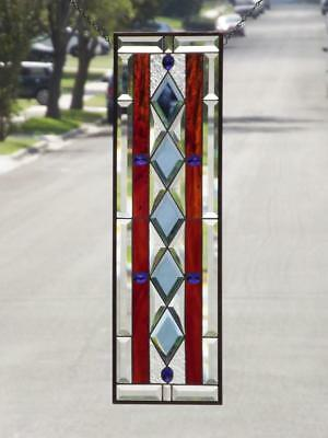 "SAPPHIRE DREAM-Beveled Stained Glass Window Panel • 31 1/2""x 9 1/2""( 80x23.5cm)"