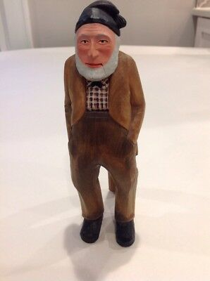 Swiss Carved Wood Old Man Nutcracker Vintage Original Tags