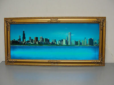 Chicago Skyline Light Up Shadow Box Picture Lakefront Water Sound Motion Retro