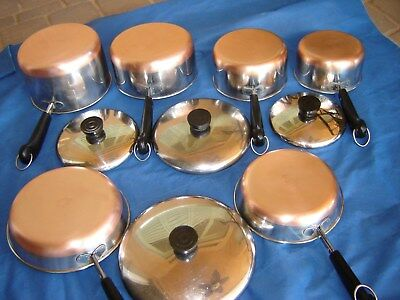 10pc 1801 REVERE WARE Fry Sauce POT PAN DOUBLE RING COPPER BOTTOM USA