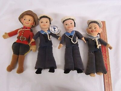 4 Norah Wellings Dolls 3 Sailors Queen Mary, Duchess of Bedford,Himalaya, RCMP