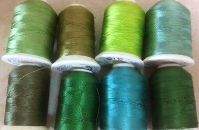 8x Robison Anton Machine Embroidery Thread Spools - Green Shades - USED