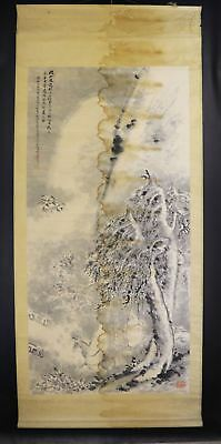 JAPANESE HANGING SCROLL ART Painting  Asian antique  #E8046