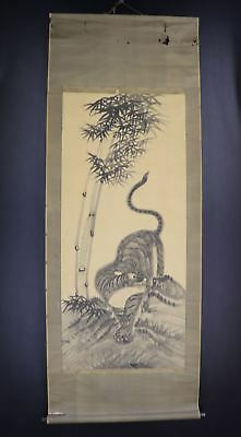 """JAPANESE HANGING SCROLL ART Painting """"Tiger"""" Asian antique  #E8040"""