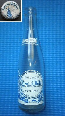 ❄RARE Snow White Beverage ACL Glass Bottle 10 ozs Canada with his Bottle Cap ❄