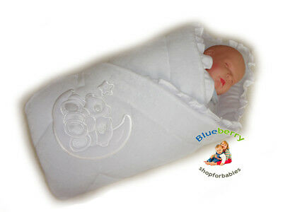 BlueberryShop Embroidered Velour Swaddle Wrap Blanket Sleeping Bag for Newborn