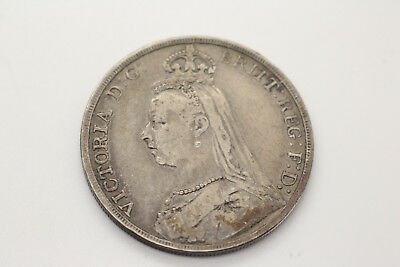1892 Silver Crown Victoria Jubilee Head .925 Sterling Silver Antique Coin - D6