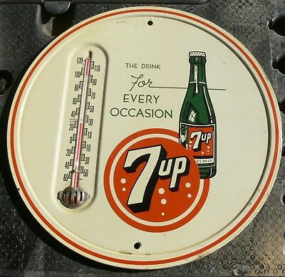 RARE Vintage 7-Up soda pop Beverage Thermometer Sign Bathing suit girl Beautiful