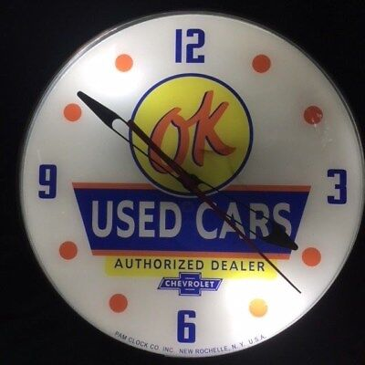 OK CHEVROLET USED CARS, Light-up PAM Advertising Clock- Sign, Automobilia
