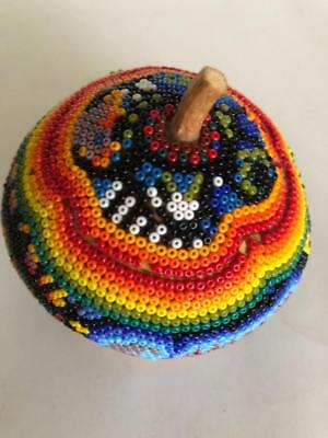 Vintage Beaded Gourd Bowl w/ Lid Hand Made Seed Bead Mexican HUICHOL PRAYER Art