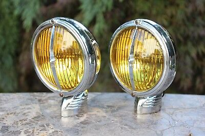 Vintage ELECTROLINE Model 82 Fog Lights Hot Rat Rod Harley Truck Art Deco Pair