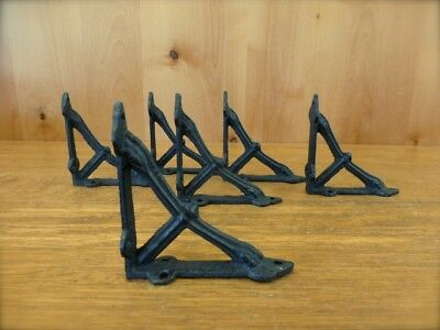 "6 Small Brown 4X4"" Wall Shelf Brackets Antique-Style Rustic Cast Iron Bow Design"