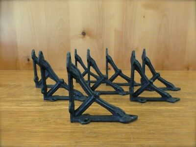 "8 Small Brown 4X4"" Wall Shelf Brackets Antique-Style Rustic Cast Iron Bow Design"