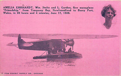 Amelia Ehrhardt, 1930 Exhibit Postcard Commemorates 1928 Flight, Early Aviation