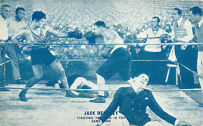 Boxing, Jack Dempsey, Fighting 2 Men In The Same Ring, Vintage Postcard