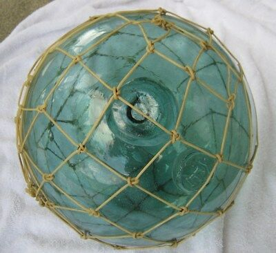 Large Glass Japanese Hand Blown Aqua Fish Float Marked Tied with Nylon - 10""