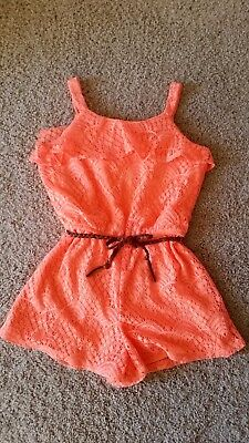 NEW! Girls Orange Lace Shorts Romper Lined With Belt SZ/M/12-14 NWT