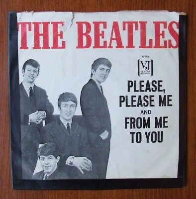 """The Beatles 45 RPM """"Please Please Me"""" VJ Vee-Jay Records VJ581 w/ Picture Sleeve"""