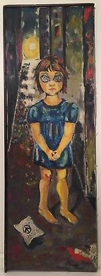Big Eyes Oil Painting Circa 1966 Signed By Artist 34.25 X 11.5 Inches