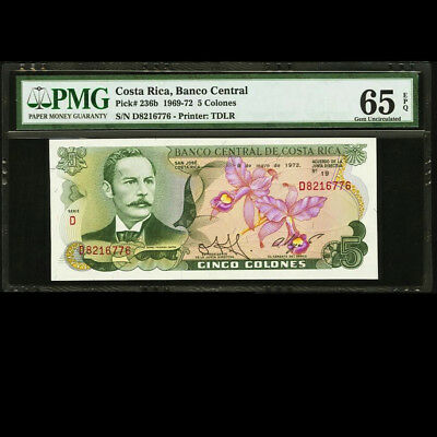 Costa Rica 5 Colones 1972 signed by 1987 Nobel Peace Prize PMG 65 EPQ P-236b