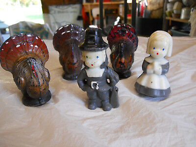 5 Vintage Thanksgiving Gurley Candles Turkey & Pilgrims