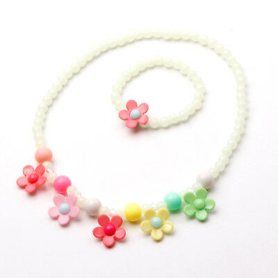 Girls Acrylic Gift Flower Necklace Jewelry Children Cute Set Luminous Bracelet