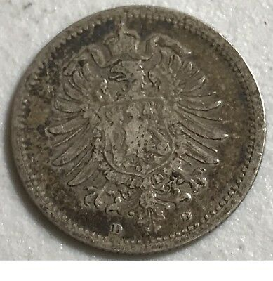 1876D Germany 20 Pfennig World foreign silver coin great condition