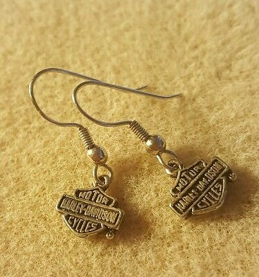 Harley davidson bar and shield earrings,  small