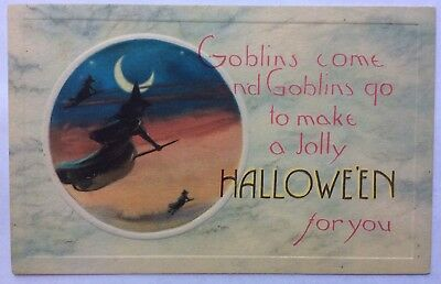 Halloween Nash Series 32 Witches fly through the Evening Twilight Moon Embossed