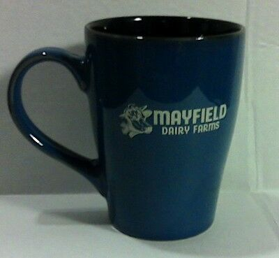 "Mayfield Dairy Farms Coffee Cup Mug Blue 4 5/8"" Tall Cow Logo Double Sided"