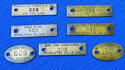7pc Lot Vintage Dog Tax License Tags Pendleton County WV 1960s