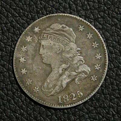 1825/4 Capped Bust Silver Quarter - F