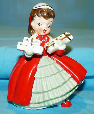 "Vtg~NAPCO~Xmas Girl in Red~Holding Presents~PLANTER~1956 AX1690PB~Brunette~5"" Hi"