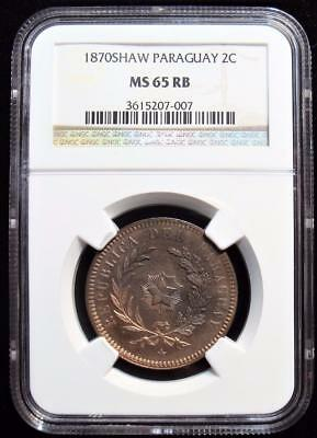 Paraguay: Republic 2 Centesimos 1870-SHAW MS65 Red and Brown NGC.
