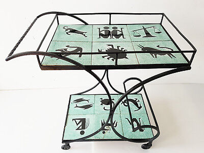 Table 50'S Pedestal Table Serving Maid Bar Zodiac 1950 Vintage Rockabilly 50S