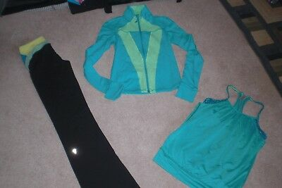 Lot of Girls Ivivva by Lululemon Luon Pants, Luon Jacket and Tank Top sz 12