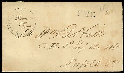"CSA 1861 Lowndesboro AL ""Paid 10"" cover to 3rd Alabama Reg, Norfolk VA"