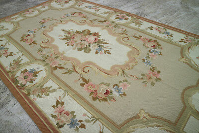 3' X 5' Beautiful Hand Woven Antique Aubusson Design Pastel Rose Needlepoint Rug