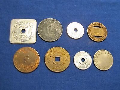 Lot of 8 Tax Tokens - Missouri, Colorado, PST Co, Mississippi, Arizona