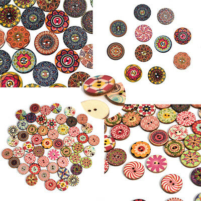 Lot 15/20mm Vintage Flower Wood Button 2Holes Mixed Color Cloth Sewing Craft DIY