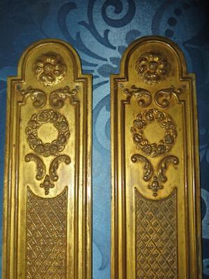 Superb Pair of French Chateau Antique Gilded Brass Door-Finger Plates. Set 2