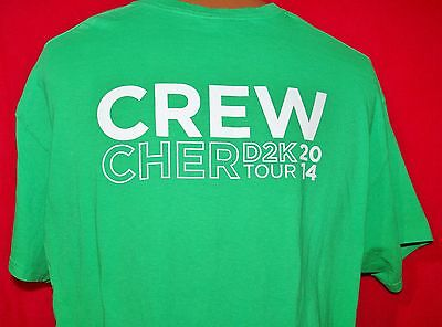CHER 2014 D2K Concert Tour Green CREW ONLY T-SHIRT XL Pop Diva RARE