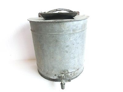 ANTIQUE Galvanized TIN SINK Barrel WASH BASIN w/ BRASS SPIGOT Old Farmhouse Find