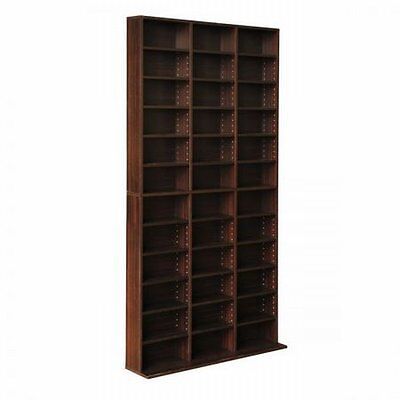 NEW Sturdy Adjustable CD DVD Book Storage Shelf Brown, Up to 1116 CDs / 528 DVDs