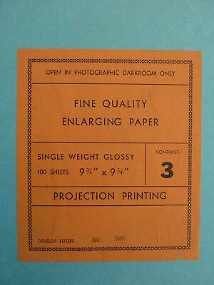 """Vintage Glossy Enlarging Photographic Paper 9-3/4"""" Square 100+ Sheets"""