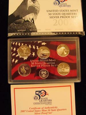 2007-S  State  Quarters  SILVER Proof Set 5 piece set NIB with COA (bc2)