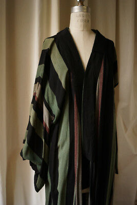 very old rayon mens kimono distressed  great colors fabric